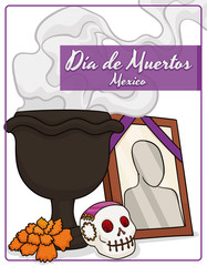"Traditional Mexican Altar with Offerings to Celebrate ""Dia de Muertos"", Vector Illustration"