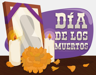 "Portrait, Marigold and Candles: Traditional Offerings for ""Dia de Muertos"", Vector Illustration"