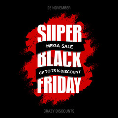 Black Friday sale best design template. Black Friday banner, poster, badge, sticker, web advertising vector illustration.