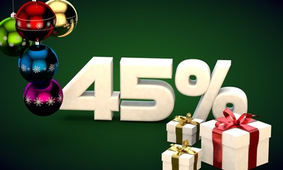 3d illustration rendering of Christmas sale 45 percent discount