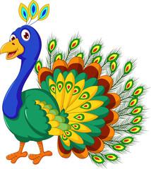 cute Peacock cartoon posing