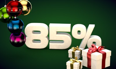 3d illustration rendering of Christmas sale 85 percent discount