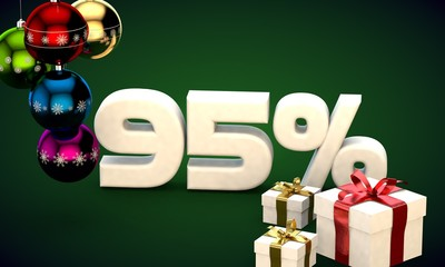 3d illustration rendering of Christmas sale 95 percent discount