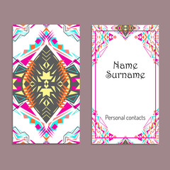 Vector business card template. Ethnic tribal ornaments. Boho style