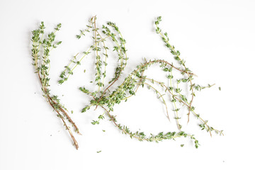 fresh thyme top view on white background