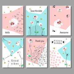 Set artistic universal cards. Design for Flyers, Placards, Posters, Invitations, Brochures. Artistic Creative Templates. Low poly style orchids flowers.
