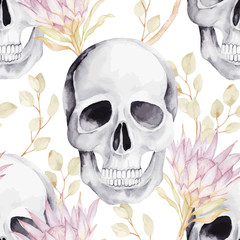Watercolor seamless pattern with skull, protea and eucalyptus leaves