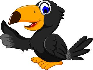 cute black bird cartoon thumb up