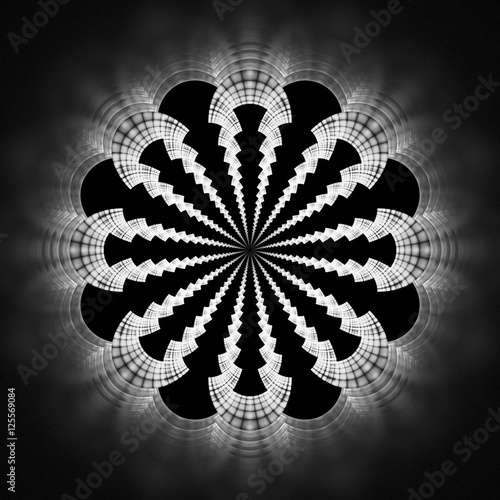 "Fractal Black Flower Free Stock Photo: ""Abstract Flower Mandala On Black Background. Symmetrical"