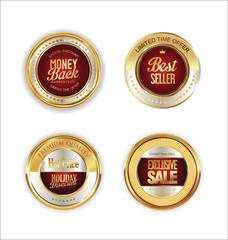 Golden metal labels retro collection