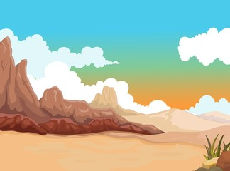 beauty desert with landscape background