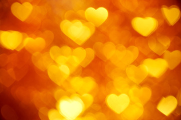 golden heart bokeh background photo, abstract holiday backdrop