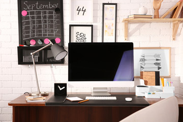 Modern workplace with computer at home