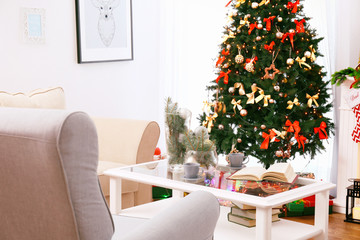 Interior of beautiful living room decorated for Christmas