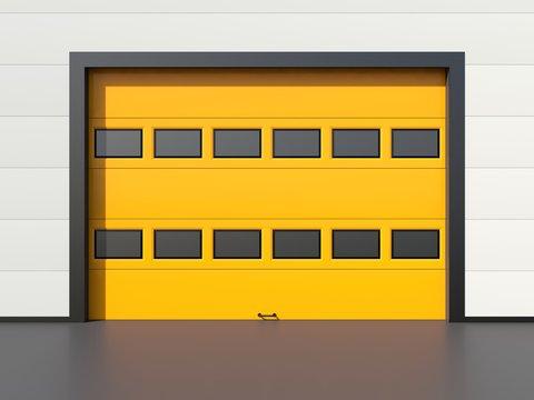 Sectional industrial door with windows on white industrial wall. Yellow door