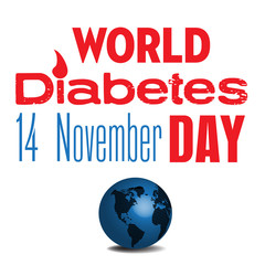 Colorful background with blue globe and the text world diabetes day written in red and blue