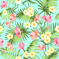 Seamless tropical flower. Plumeria flowers and jungle palms. Beautiful fabric pattern with a tropical flowers isolated over green background. Blossom flowers for seamless pattern background.