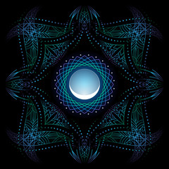decorative corners, blue green psychedelic floral geometric ornamental frame, stylized young moon, black background, use opacity mask, vector EPS 10