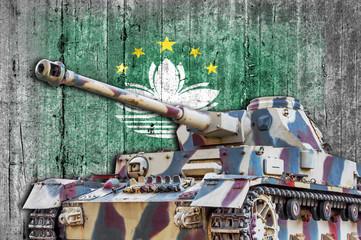 Military tank with concrete Macau flag