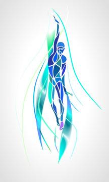 Back Crawl Backstroke Swimmer Silhouette. Sport swimming