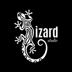 Lizard Studio logo. Outline salamander icon. White reptile silhouette isolated on black background. Abstract design element. Vector illustration