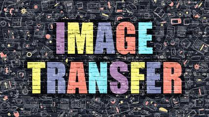 Image Transfer in Multicolor. Doodle Design.
