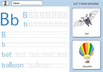 Cartoon bat and balloon. Alphabet tracing worksheet: writing A-Z