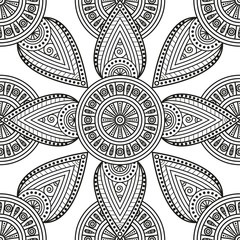 Oriental mandala ornamental print. Seamless black & white pattern for ethnic motifs coloring book pages, tattoo design, mural art decoration, textile prints.