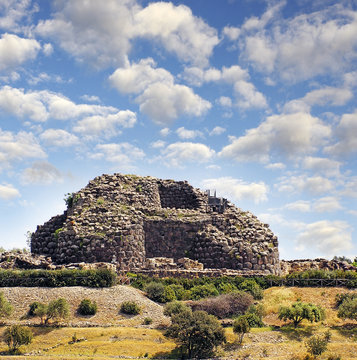 Nuraghi ruins - Su Nuraxi di Barumini, Bronze Age, Sardinia, Italy, UNESCO World Heritage Site