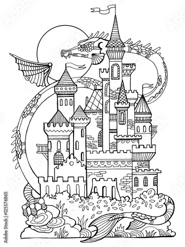 Castle and dragon coloring book vector stock image and for Dragon and castle coloring pages