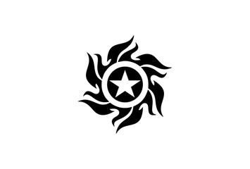 Tribal Star and Sun Tattoo