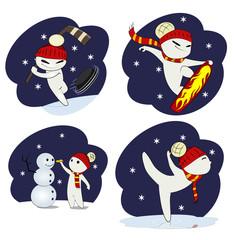 Set of cool snowman.