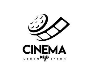 abstract cinema logo vector template isolated on white background