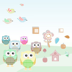 owls and birds on tree branches. nature element set