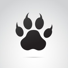 Paw icon on white background. Vector art.
