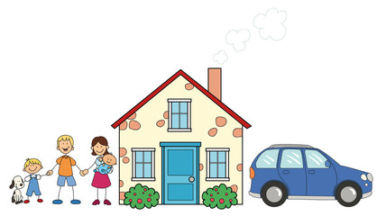 Glückliche Familie vor Eigenheim