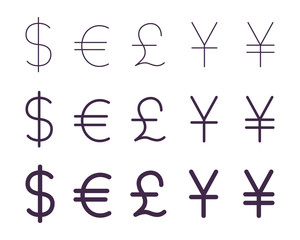 Set of currency signs, thin, regular, bold. Vector icons set