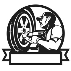 Logo for car service. Auto mechanic changing tyre on car. Auto mechanic works with the cordless impact wrench. Wheel change. Vector illustration.