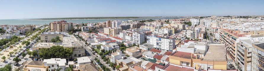 Aerial panoramic view of Sanlucar de Barrameda, Cadiz, Spain