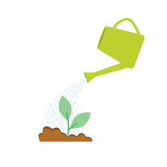 Image of watering plants with can