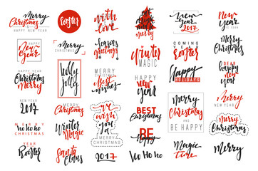 Merry Christmas and Happy New Year 2017 luxury calligraphy emblems set. New red inscriptions holidays, vector logo, text design. Usable for banners, greeting cards, gifts etc.