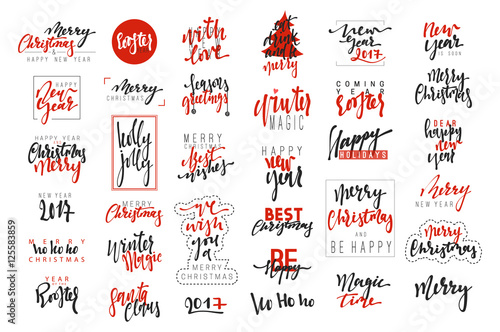merry christmas and happy new year 2017 luxury calligraphy emblems set new red inscriptions holidays