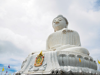 outdoor roadside public temple, White Big Buddha in phuket Thailand, the temple has created with money donated by people to hire artist no restrict in copy or use