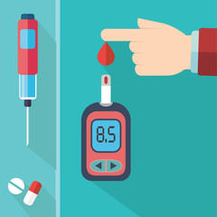 Diabetes Blood Glucose Test - Hand applying blood drop to test strip of Glucose Meter - Flat icon set
