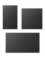 Realistic vector photo frame on pin isolated on white background. Template photo design. Vector illustration