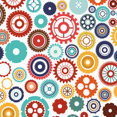 pattern with multiple colorful gears vector illustration