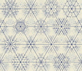 Seamless vector thin line geometric pattern of snowflakes with points at the intersections. Hipster style, blue lines on a light background.