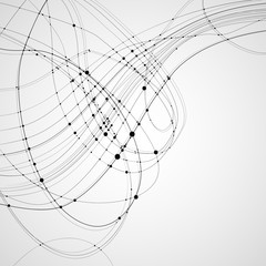 Abstract vector background. Black rounded curves intersecting lines with rounded points at the intersections on a light background. Subject of technology, molecular physics, data transmission.