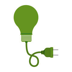 green bulb light with plug vector illustration