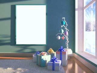 Christmas decorative tree with empty frame poster with blank for design and gift present box with bow. Interior with window, snow winter on background. 3d illustration with soft focus and light effect
